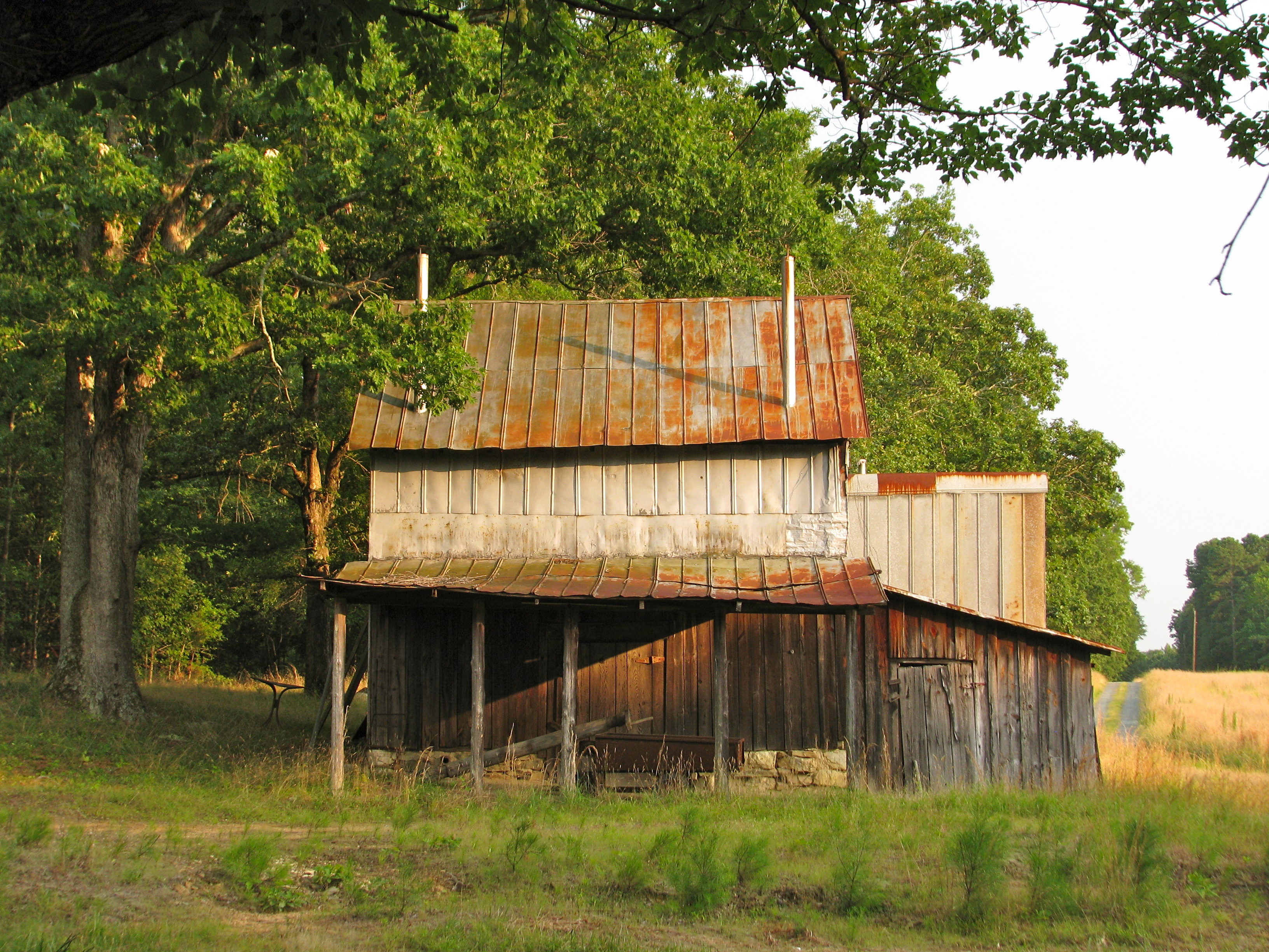 Beautiful Tobacco Barns And A Dilapidated Log Cabin